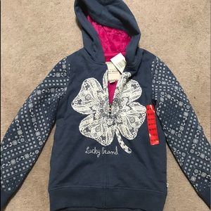 NWT Lucky Brand hoodie lined with fur